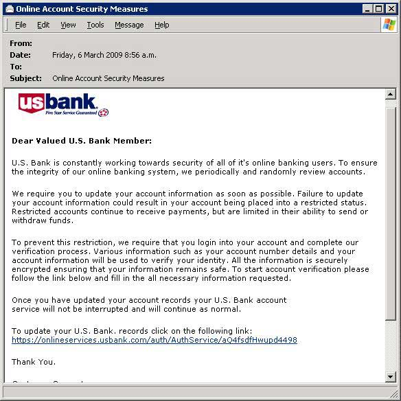 US Bank Scam email