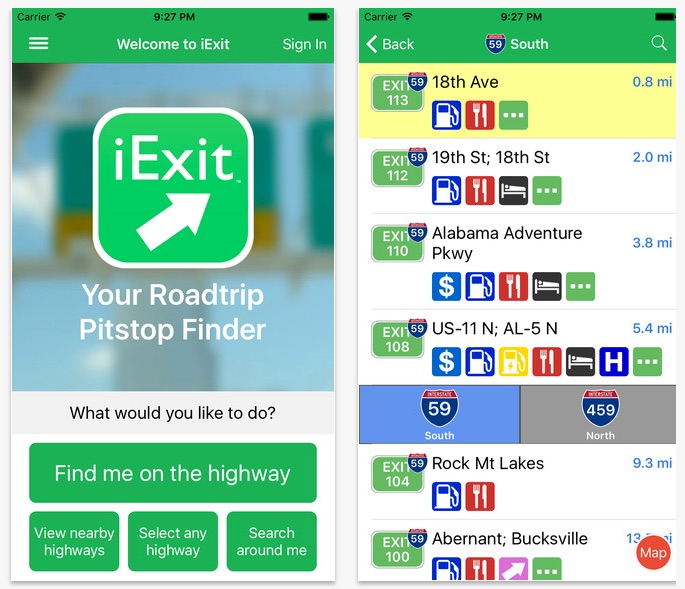 Top 3 Road Trip Apps for your Ride IExit Interstate Exit Guide On The App Store