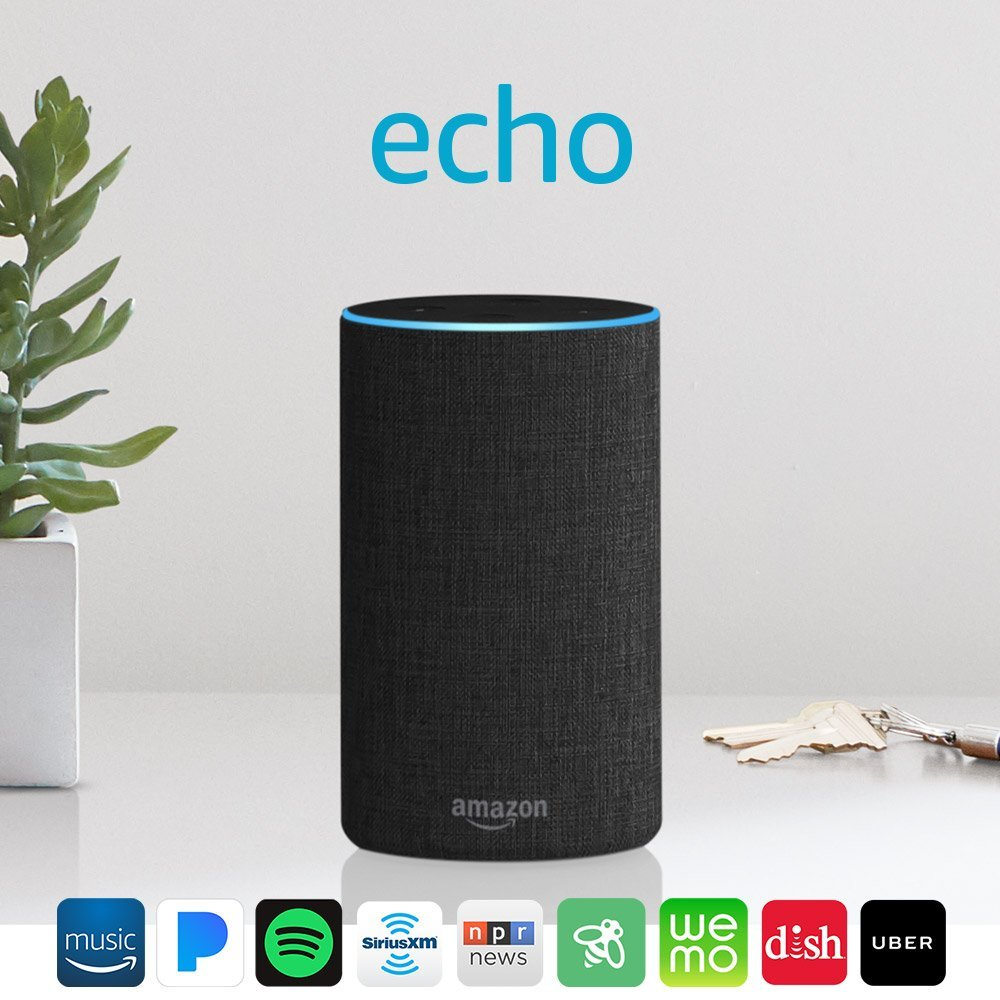 Echo (2nd Generation) Smart Speaker With Alexa Charcoal Fabric